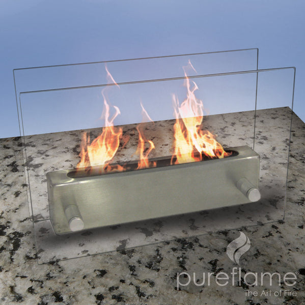 Pureflame glass fire tabletop ethanol fireplace perfect for Ethanol outdoor fire pit