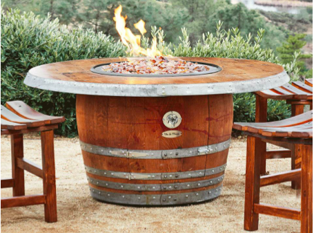 vin de flame the reserve wine barrel fire pit table with wood stave rh perfectfirepits com wine barrel gas fire table lowes wine barrel 27 fire table