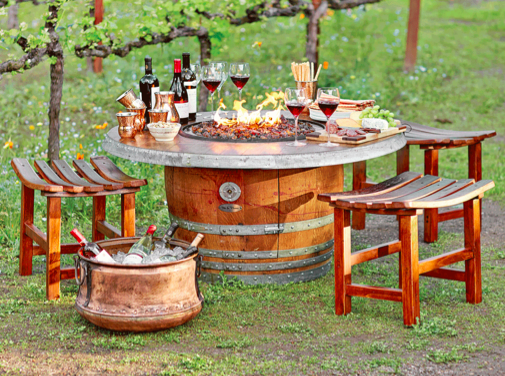 Attractive ... Vin De Flame The Reserve Wine Barrel Fire Pit Table With Vintage Table  Top   Perfect ...