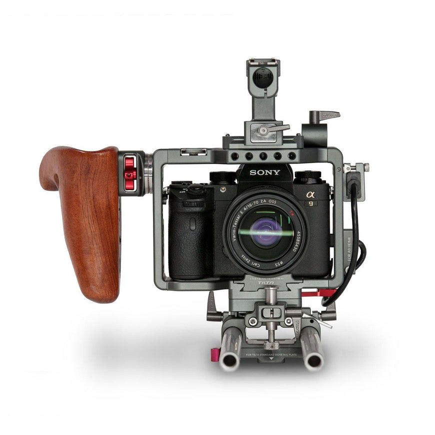 Camera Rig for Sony A9, Sony A7SII with Wooden Handle-Front View