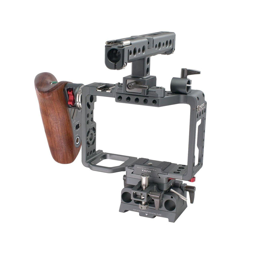 Sony A7SII Rig with Wooden Handle-Right Front View