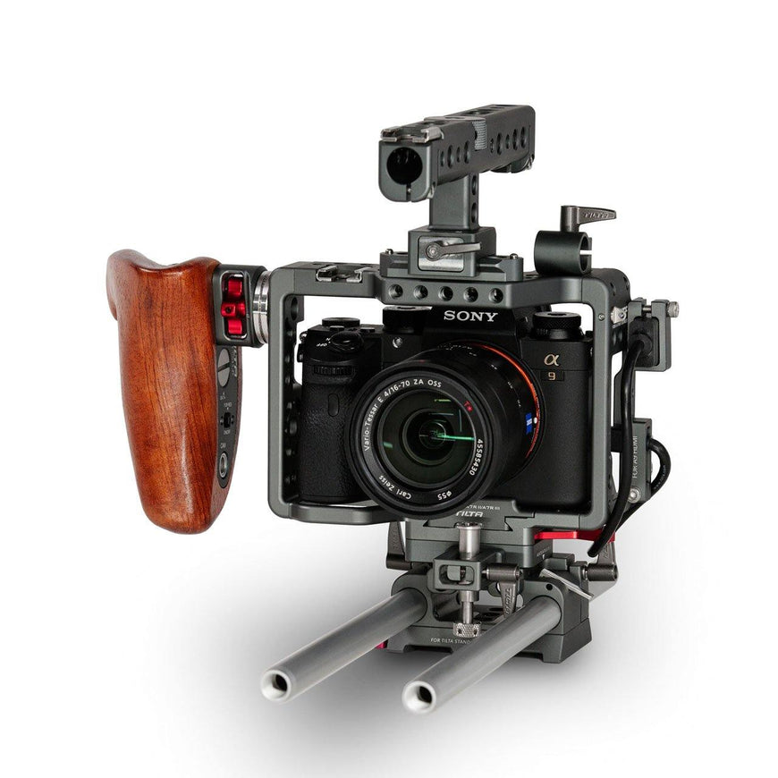 Camera Rig for Sony A9, Sony A7SII with Wooden Handle-Right Front View