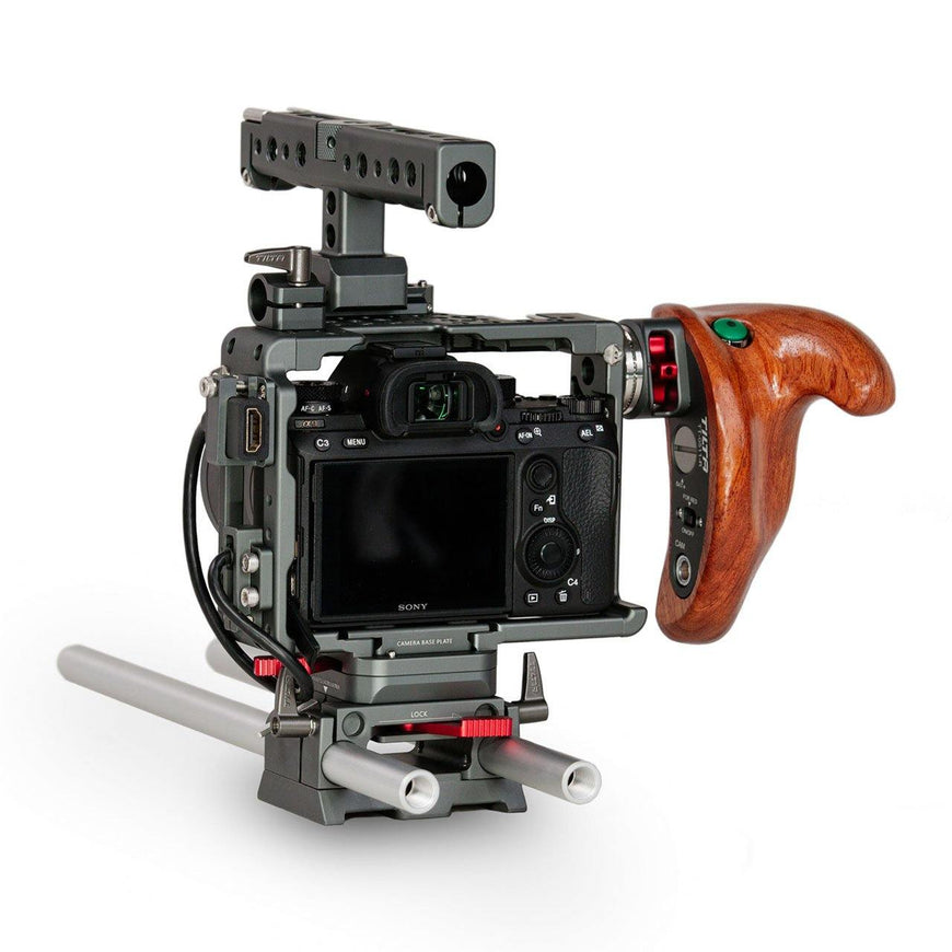 Camera Rig for Sony A9, Sony A7SII with Wooden Handle-Right Back View
