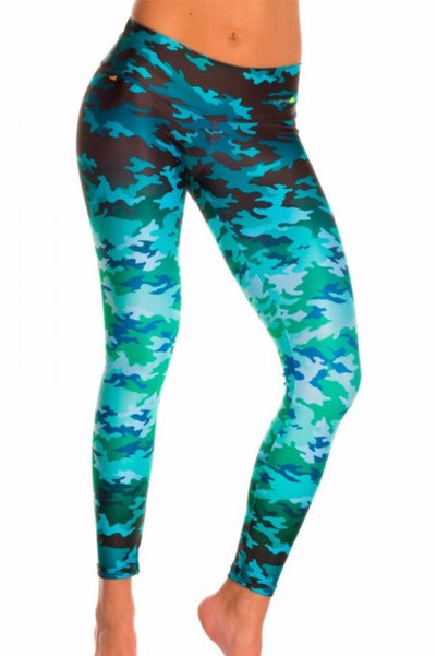 Blue Camo Compression Leggings
