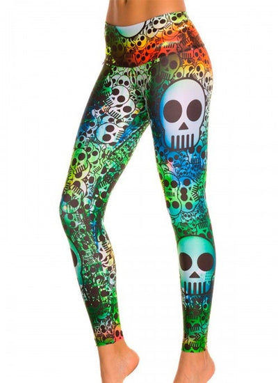 Rainbow Skull Compression Leggings