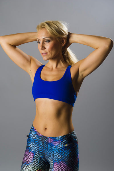 Blue Crossed Sports Bra