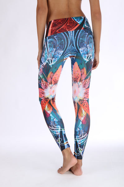 Orange Flowers Compression Leggings