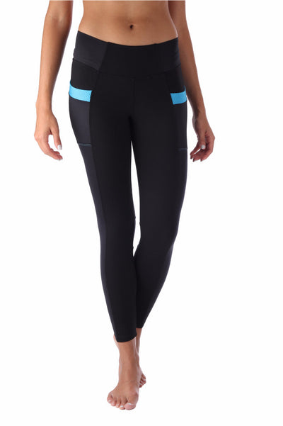 Blue Pockets Compression Leggings
