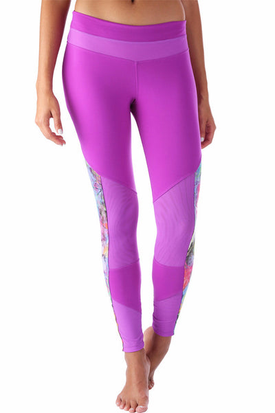 Purple Printed Mesh Compression Legging