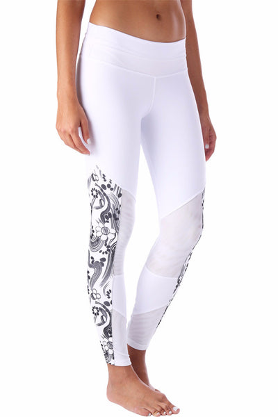 White Printed Mesh Compression Legging