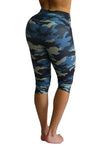 Ocean Blue Camo Compression Capri