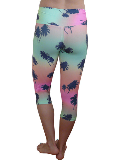 Palm Tree Hi Rise Supplex Capri