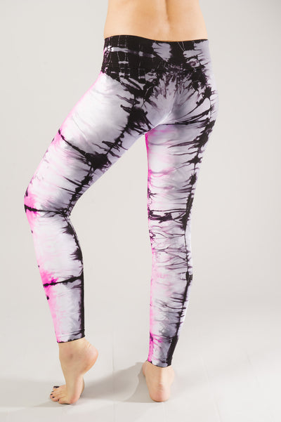 Pink Grey Tie Dye Compression Leggings