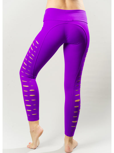 Slightly Slashed Purple Compression Legging