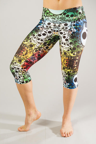 Rainbow Skull Compression Capri