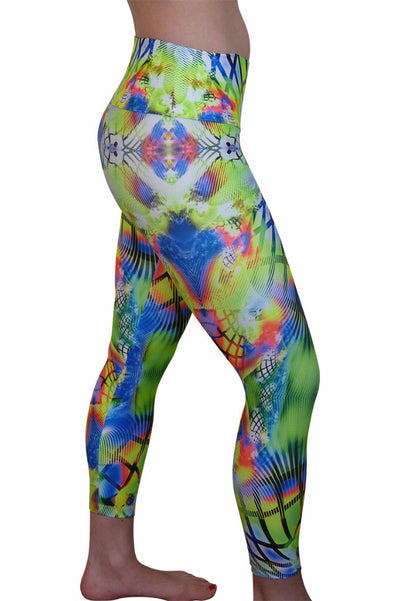 Flourescent Grid Compression Leggings