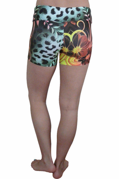 FLORAL ANIMAL PRINT COMPRESSION SHORTS