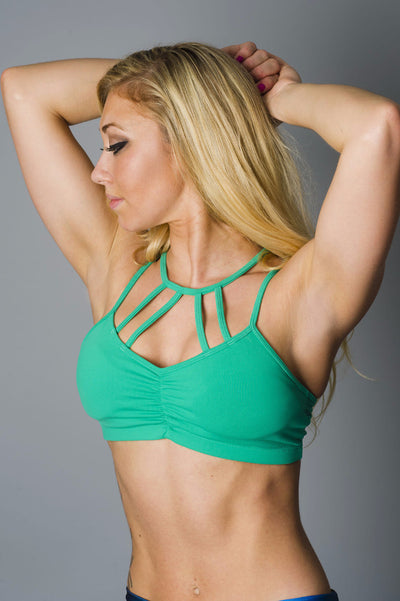 Green Strapped Sports Bra
