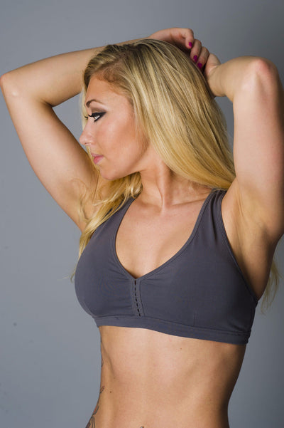 Grey Down and Dirty Sports Bra