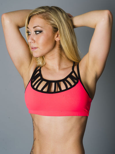 Neon Orange Laced Sports Bra