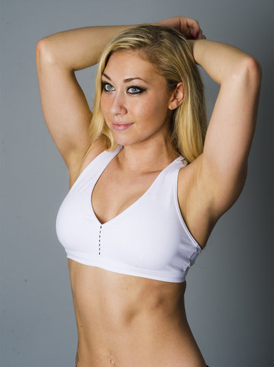 White Down and Dirty Sports Bra