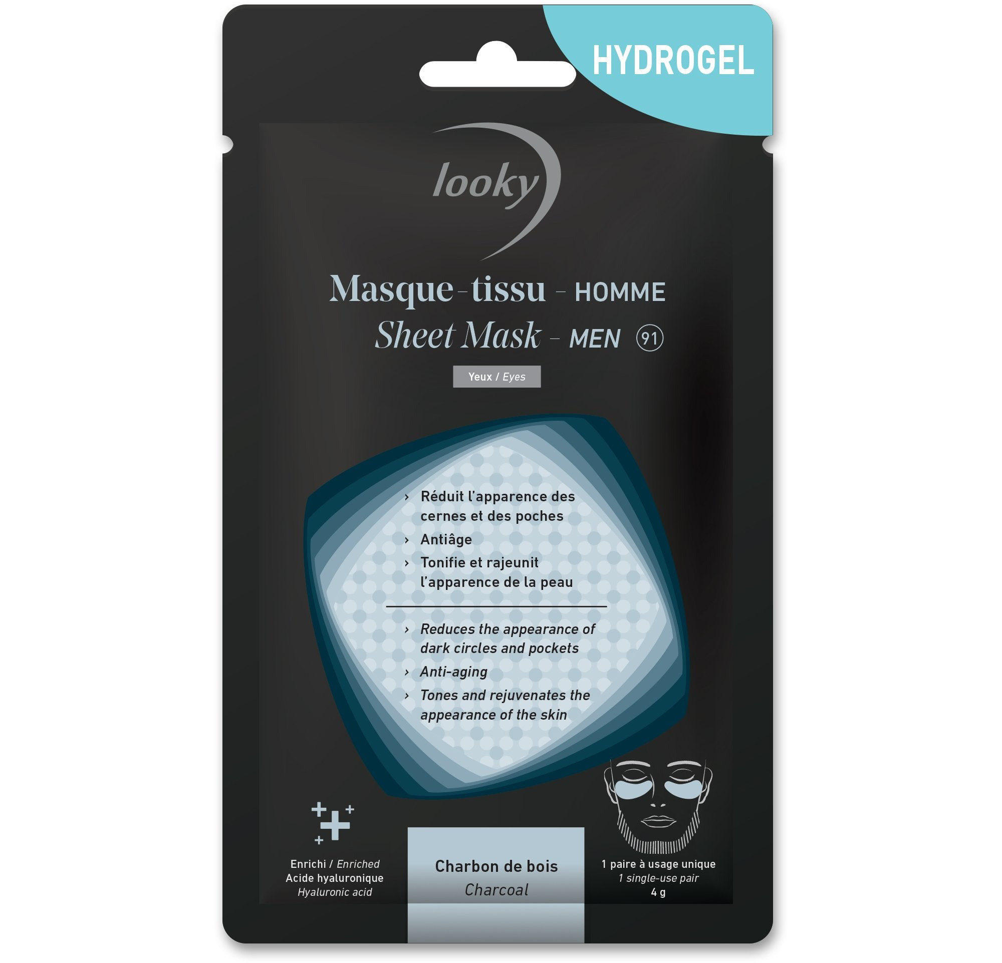 Looky masque-tissu HYDROGEL homme -  Yeux #91