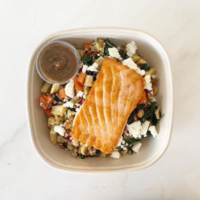 Salmon Roasted Vegetable Barley Salad