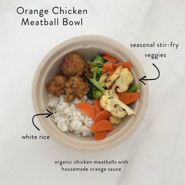 Orange Chicken Meatball Bowl