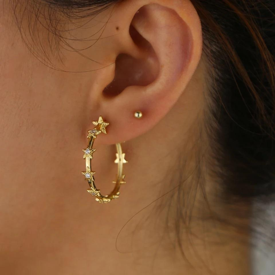 Star girl hoop earrings - Marbecs Boutique