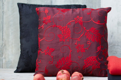 Hand Felted Cushion with Silk Brocade
