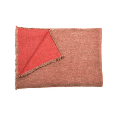Banff Baby Yak and Cashmere Blanket Thunder Grey with Bright Red