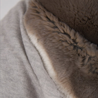 Handfelted Cashmere Shawl with Rex Fur