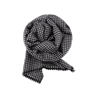 Classic Houndstooth Cashmere Scarf
