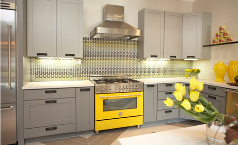 grey kitchen yellow oven countertop support