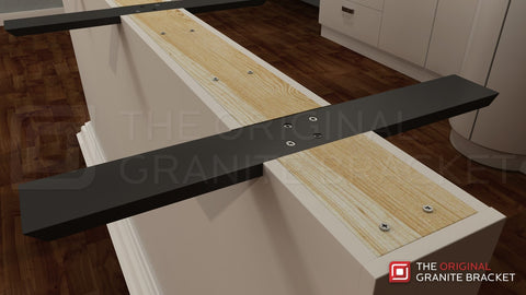 Flat wall countertop support bracket the original for Maximum granite overhang without support