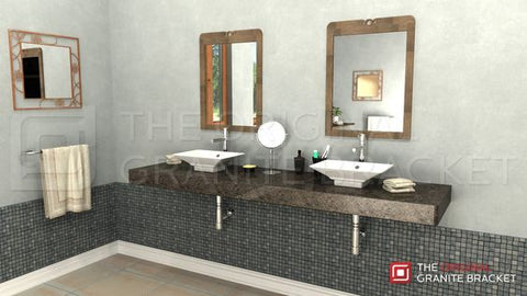 Floating bathroom vanity with free hanging shelf bracket by The Original Granite Bracket