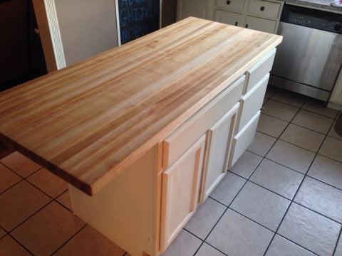 Butcher block countertop overhang
