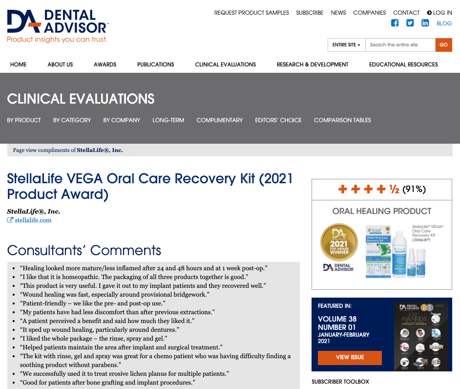 2021 Top Oral Healing Product by Dental Advisor