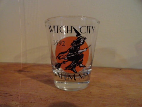 Clear Shot Glass with Witch