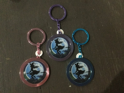 *NEW* Round Flying Witch Keychain (blue, pink, purple)