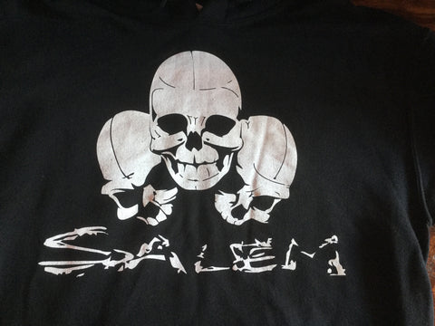 Black Three Skull Hooded Sweatshirt