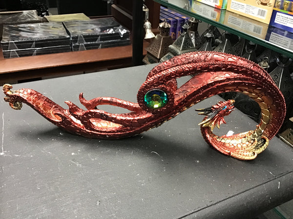 Red dragon curved incense burner