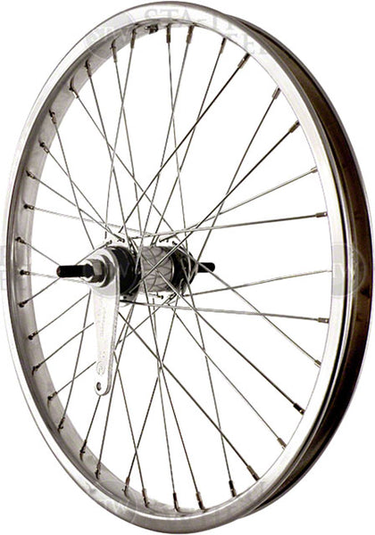 Sta Tru Rear Wheel~ 20 inch Silver Coaster Brake Steel Rim with Solid Thread on Axle and 36 Spokes Includes Axle Nuts