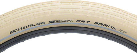 Schwalbe Fat Frank Tire, 26x2.35 Wire Bead Creme with Reflective Sidewalls and K-Guard Protection