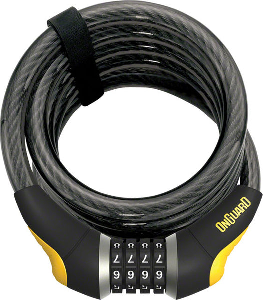 OnGuard Doberman Combo Cable Lock: 6' x 15mm Gray/Black/Yellow