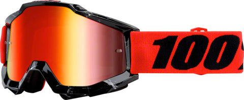 100% Accuri Goggle, Inferno with Mirror Red Lens, Spare Clear Lens Included