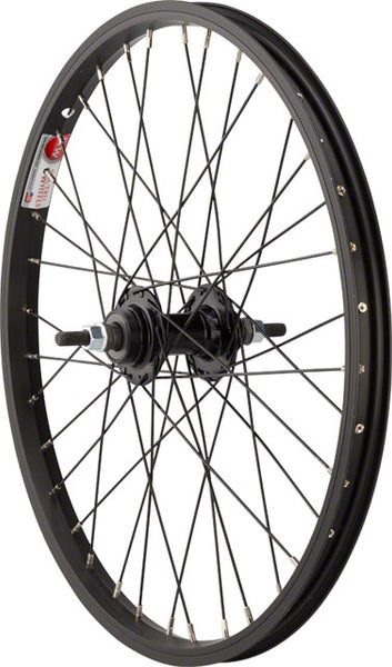 "Sta Tru Rear Wheel 20x1.75"" Solid Thread on Axle with 36 Spokes Includes Axle Nuts, Black"