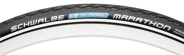 Schwalbe Marathon Tire, 27x1-1/4 Wire Bead Black with Reflective Sidewall and GreenGuard Protection