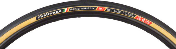 Challenge Paris-Roubaix Tire: Handmade Clincher Open Tubular, 700x27, 300tpi, Black/Tan