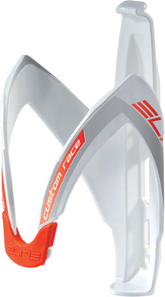 Elite Custom Race Water Bottle Cage: White/Silver/Red